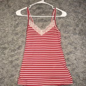 Orange/red and white striped tank top